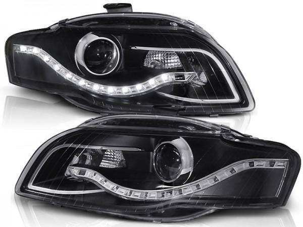 Koplampen Audi A4 B7 LED DRL-Look Zwart