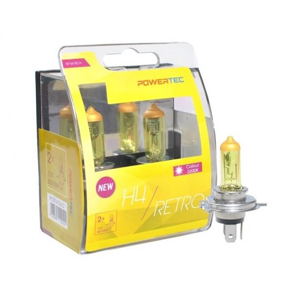 Geel Powertec Retro Yellow H4 12V DUO 3200K lampen