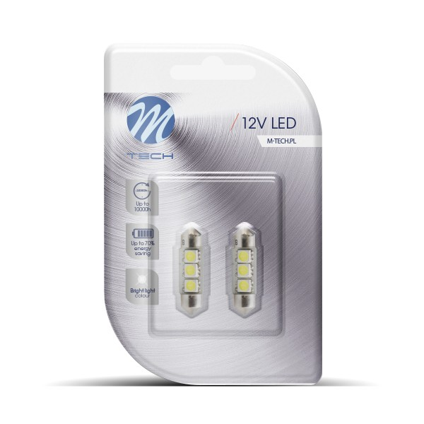 Buislampjes LED 36mm 3 SMD High-Power M-tech Wit