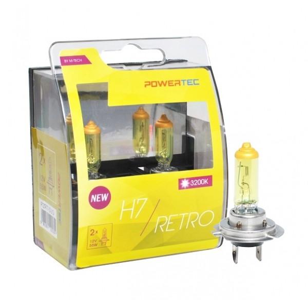 Geel Powertec Retro Yellow H7 12V DUO 3200K lampen